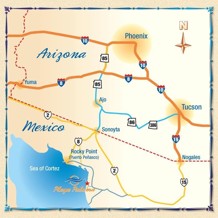Arizona to Rocky Point and Playa Paloma Map